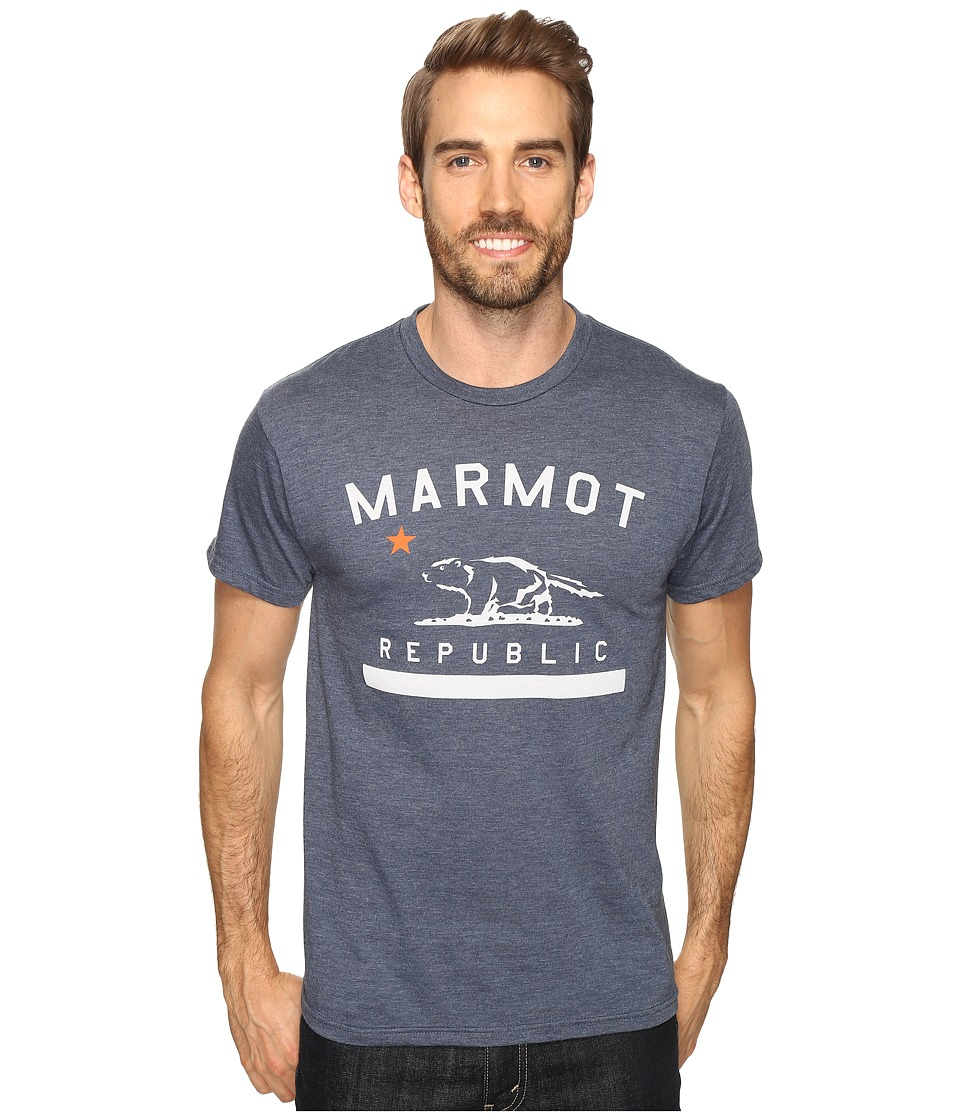 Marmot - Marmot Republic Short Sleeve Tee (Navy Heather) Men's T Shirt