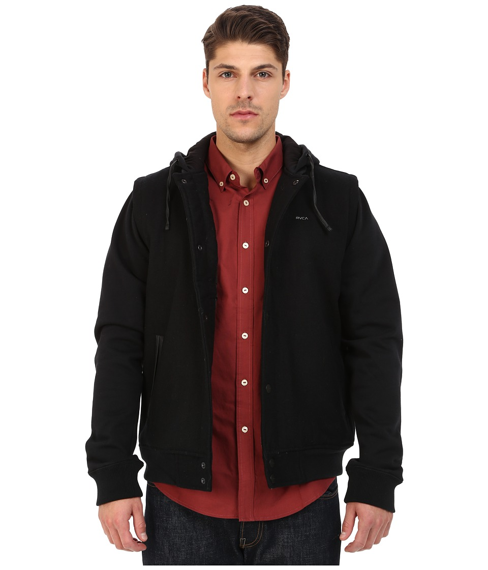 RVCA - Puffer Letterman Jacket (Black) Men's Jacket