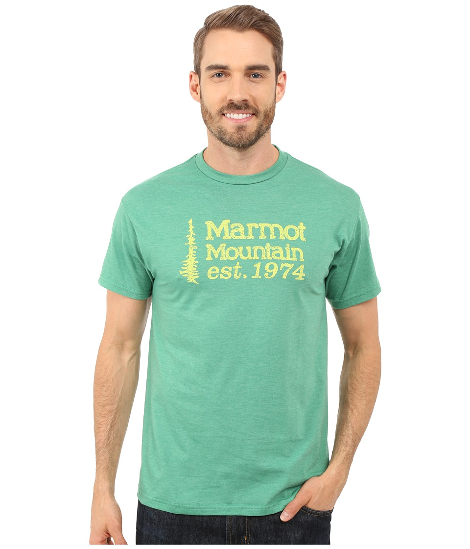 Marmot - 74 Short Sleeve Tee (Green Heather) Men's T Shirt