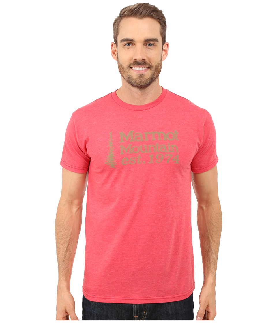 Marmot - 74 Short Sleeve Tee (Red Heather) Men's T Shirt