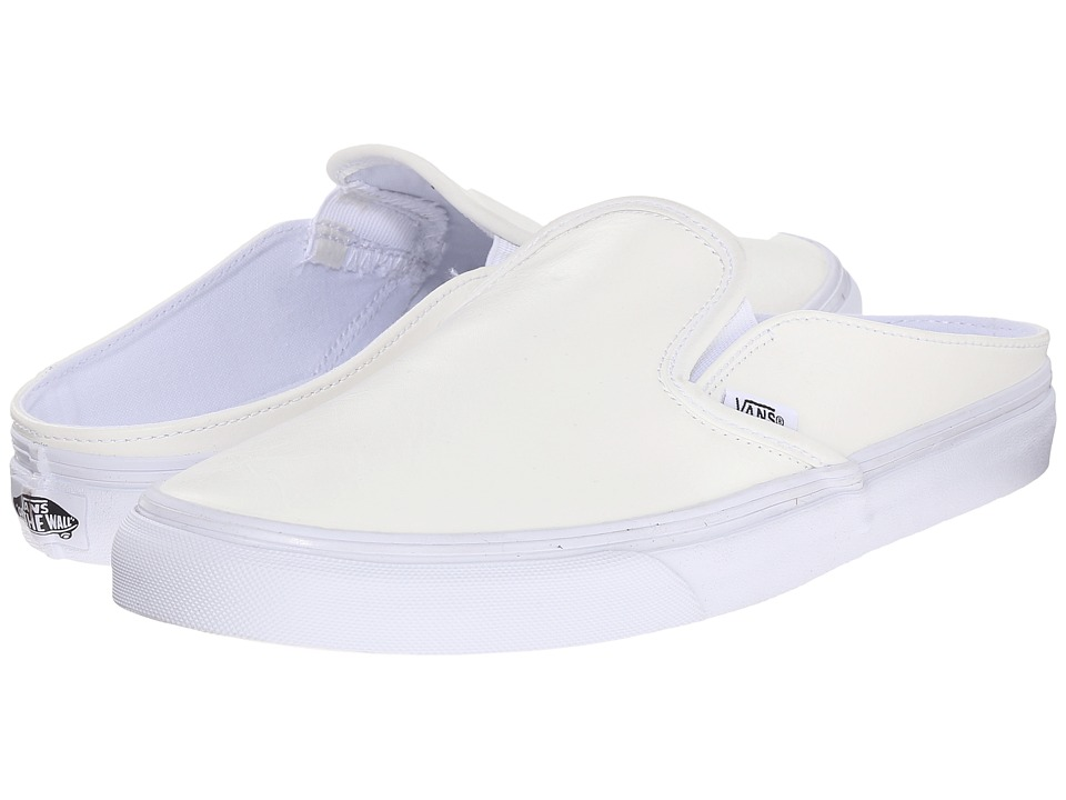 Vans - Classic Slip-On Mule ((Leather) White/True White) Shoes