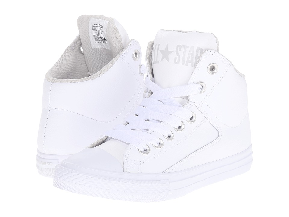 Converse Kids - Chuck Taylor All Star High Street Leather (Little Kid/Big Kid) (White/Mouse/White) Kids Shoes