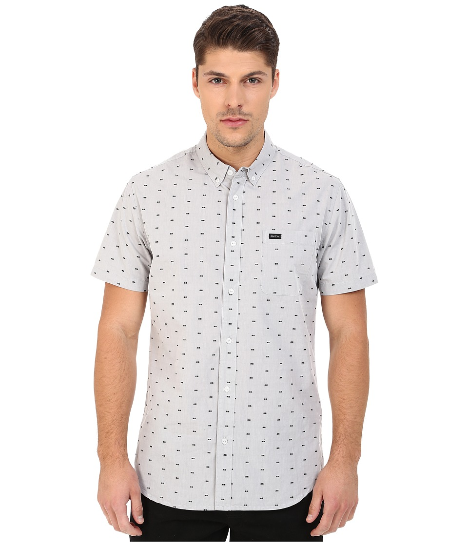 RVCA - That'll Do Squares Woven (Monument) Men's Short Sleeve Button Up