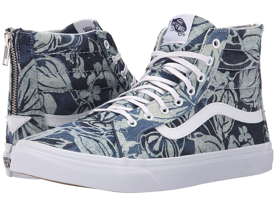 Vans - SK8-Hi Slim Zip ((Indigo Tropical) Blue/True White) Skate Shoes