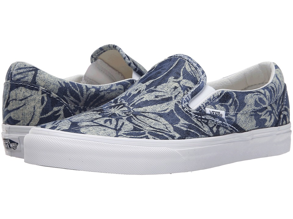 Vans - Classic Slip-On ((Indigo Tropical) Blue/True White) Skate Shoes