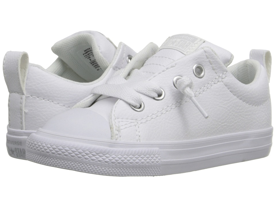 Converse Kids - Chuck Taylor All Star Street Leather (Infant/Toddler) (White/White/White) Kids Shoes