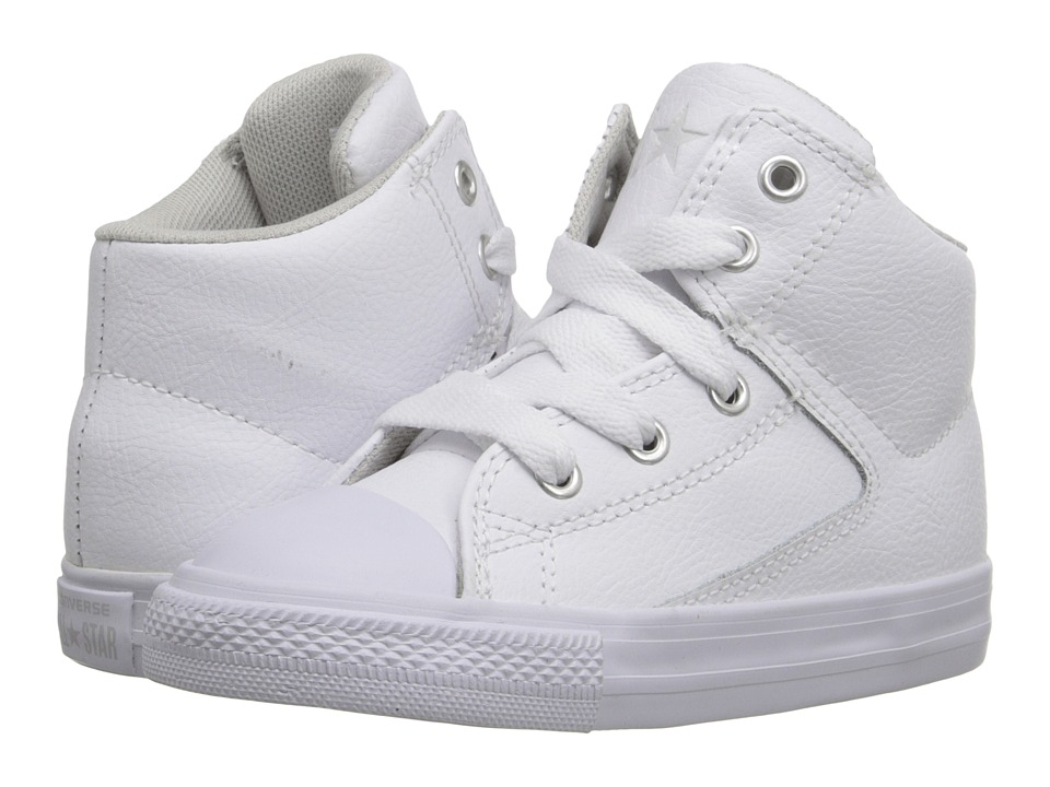 Converse Kids - Chuck Taylor All Star High Street Leather (Infant/Toddler) (White/Mouse/White) Kids Shoes