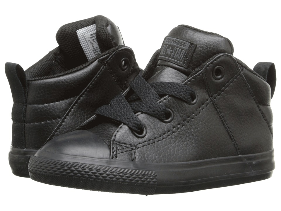 Converse Kids - Chuck Taylor All Star Axel Mid Leather (Infant/Toddler) (Black/Black/Black) Boy's Shoes