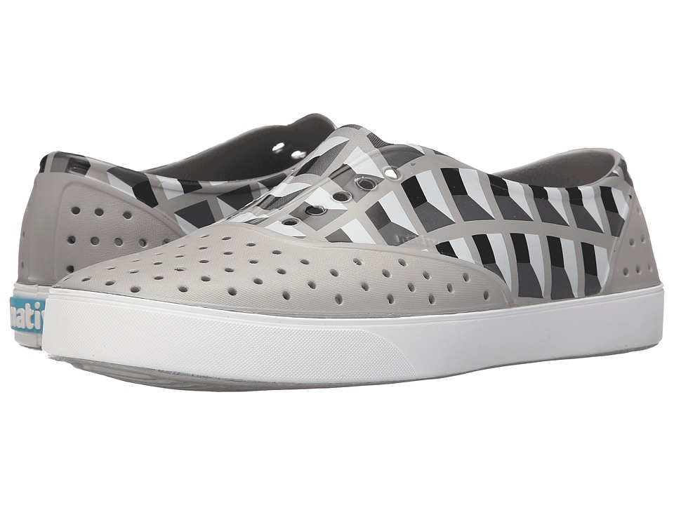 Native Shoes - Miller (Pigeon Grey/Shell White/Geo Deco Print) Slip on Shoes
