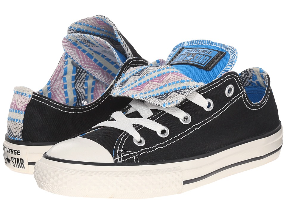 Converse Kids - Chuck Taylor All Star Double Tongue Ox (Little Kid/Big Kid) (Black/Spray Paint Blue/Powder Purple) Girls Shoes