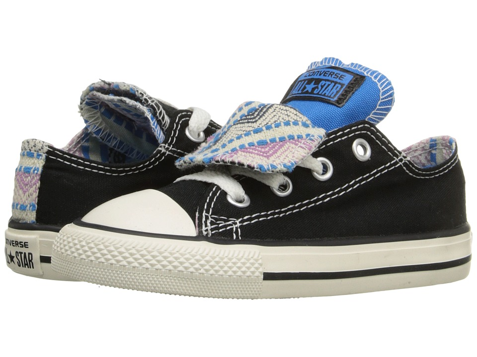 Converse Kids - Chuck Taylor All Star Double Tongue Ox (Infant/Toddler) (Black/Spray Paint Blue/Powder Purple) Girls Shoes