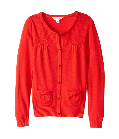 Pumpkin Patch Kids - Core Essentials Girls Cardigan (Infant/Toddler/Little Kids/Big Kids) (Poppy Red) Girl's Sweater