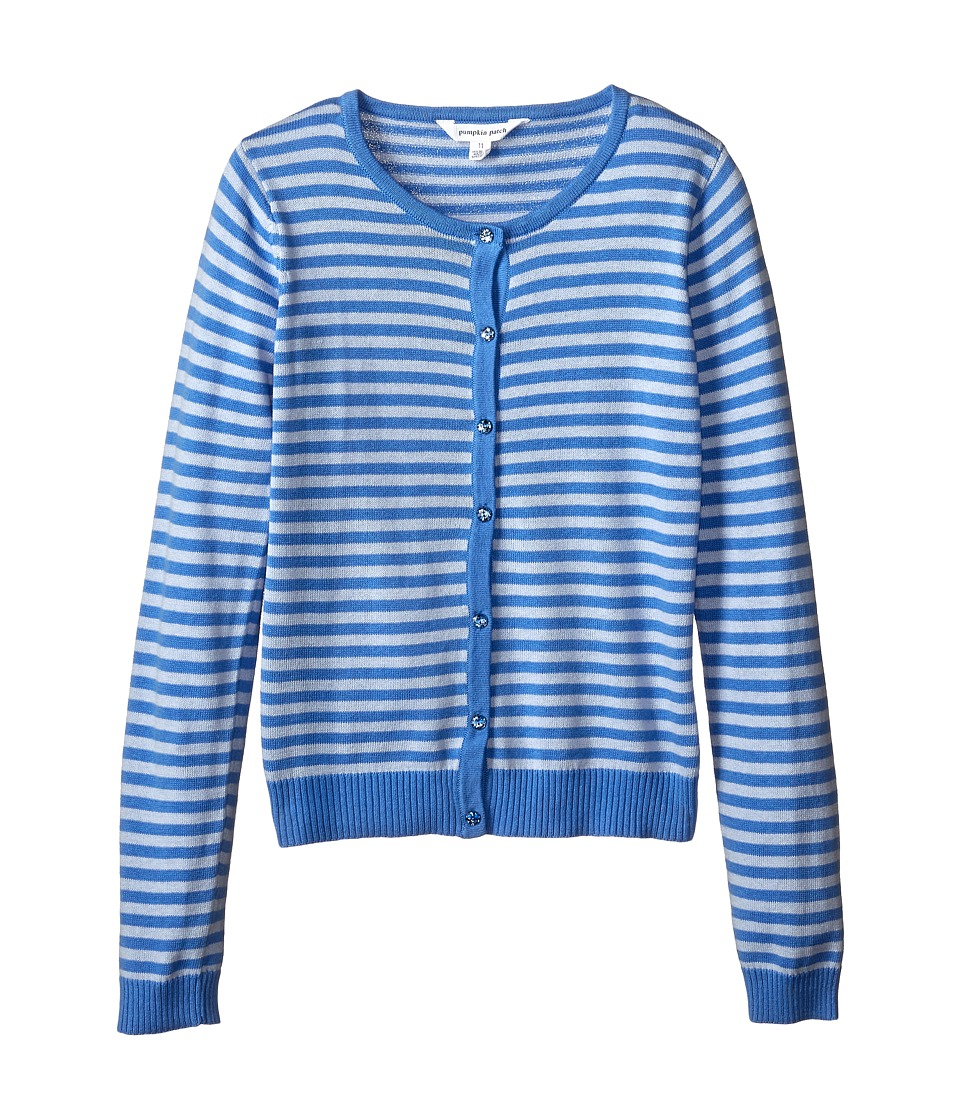 Pumpkin Patch Kids - Core Essentials Stripe Cardigan (Infant/Toddler/Little Kids/Big Kids) (Cornflower Blue) Girl's Sweater