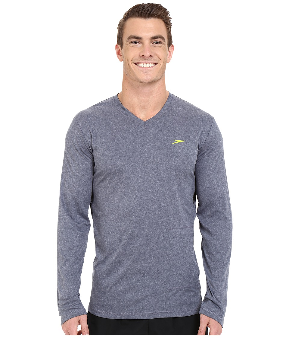 Speedo - Heather Long Sleeve V-Neck Swim Tee (New Navy) Men's Swimwear