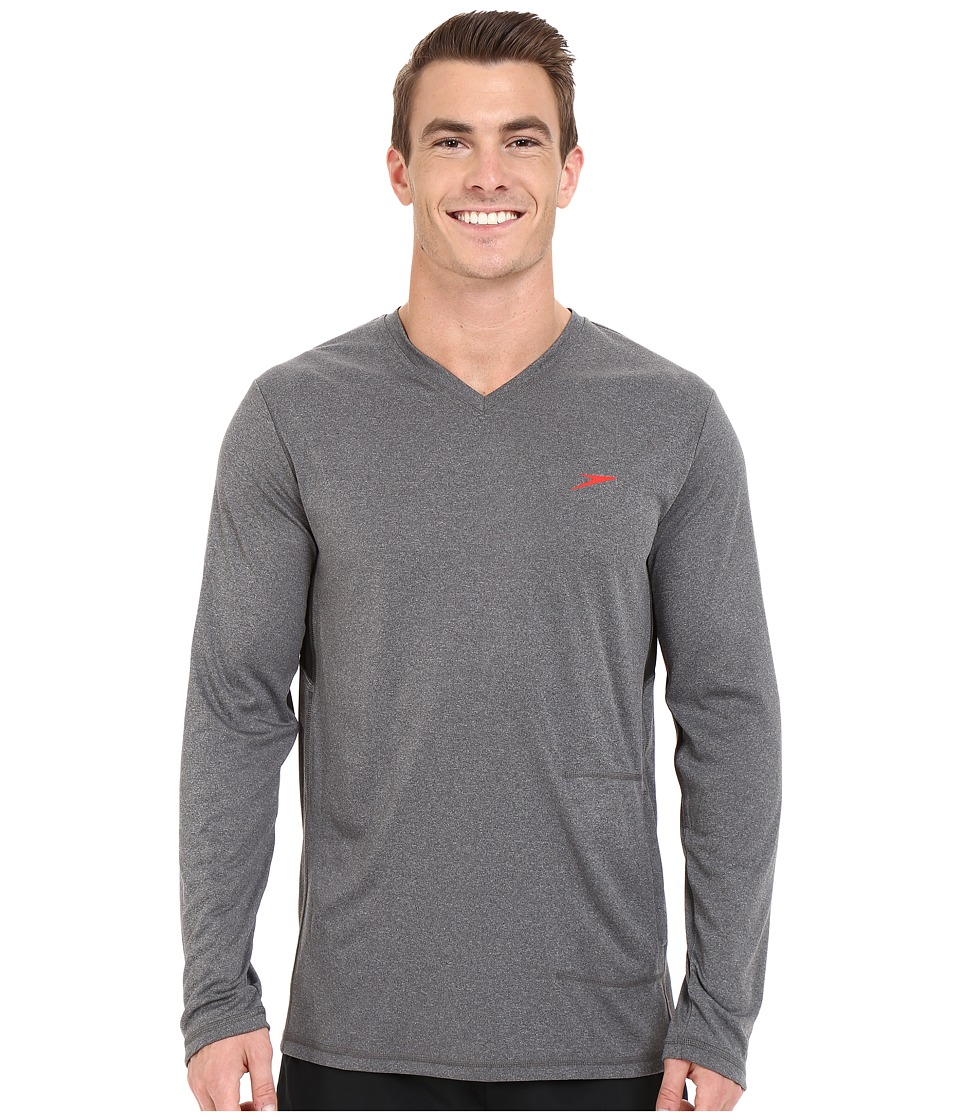 Speedo - Heather Long Sleeve V-Neck Swim Tee (Heather Grey) Men's Swimwear
