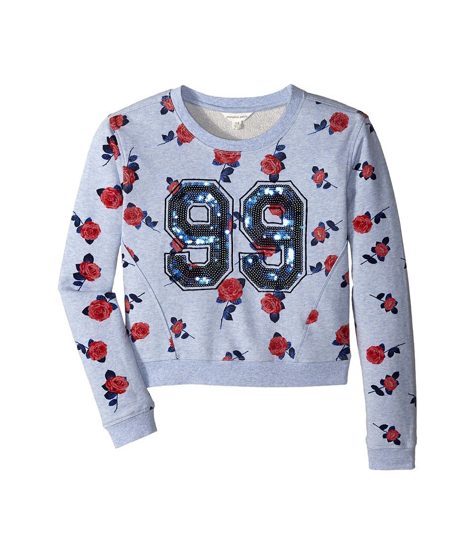 Pumpkin Patch Kids - Rose Print Sweat (Little Kids/Big Kids) (Dream Blue) Girl