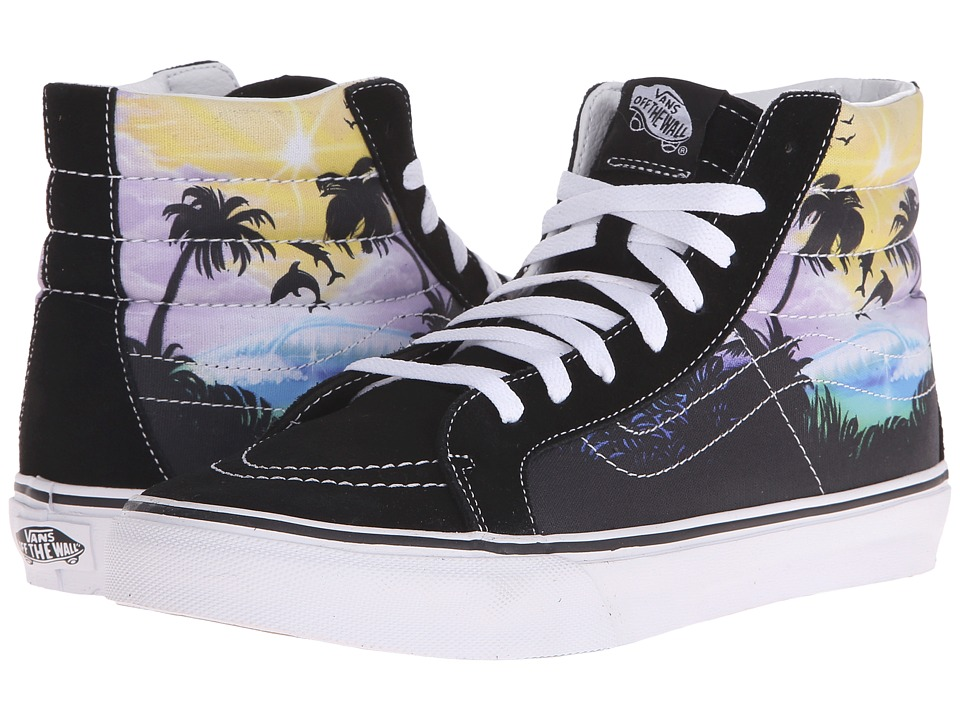 Vans - SK8-Hi Slim ((Dolphin Beach) Black/True White) Skate Shoes
