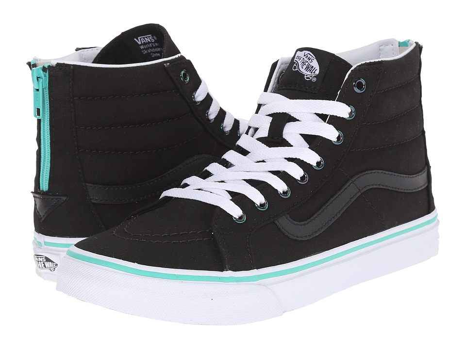 Vans - SK8-Hi Slim Zip ((Iridescent Eyelets) Black) Skate Shoes