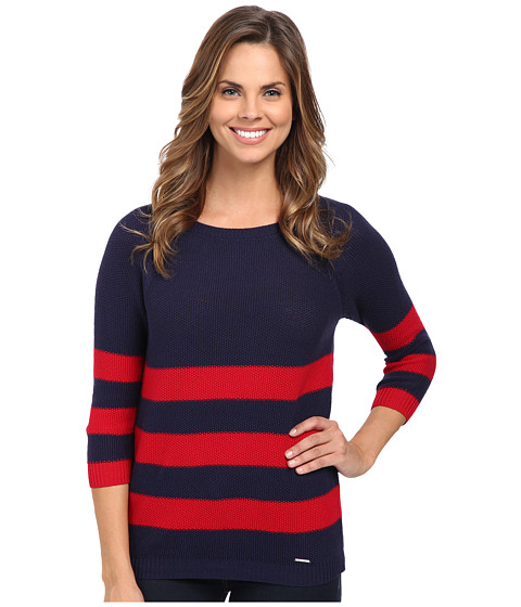 U.S. POLO ASSN. - Variegated Stripe Sweater (Crimson Combo) Women