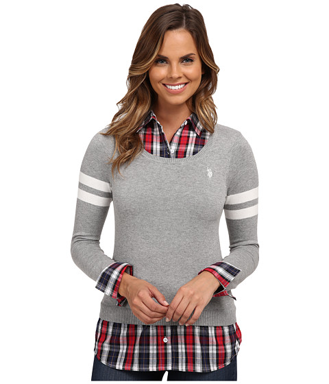 U.S. POLO ASSN. - Plaid Shirt with Scoop Neck Pullover Twofer (Medium Heather Grey Combo) Women's Sweater