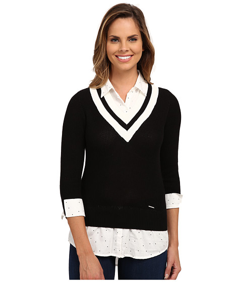 U.S. POLO ASSN. - Dot Print Shirt and Cropped V-Neck Sweater Twofer (Black Combo) Women's Sweater