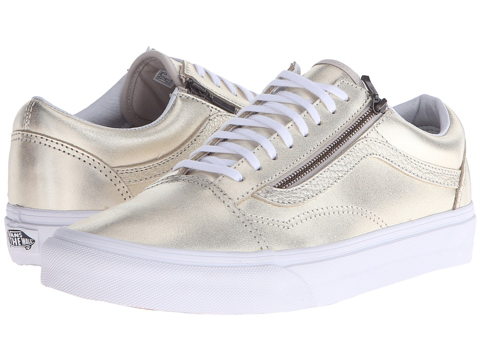 Vans - Old Skool Zip ((Metallic Leather) Wheat Gold/True White) Lace up casual Shoes
