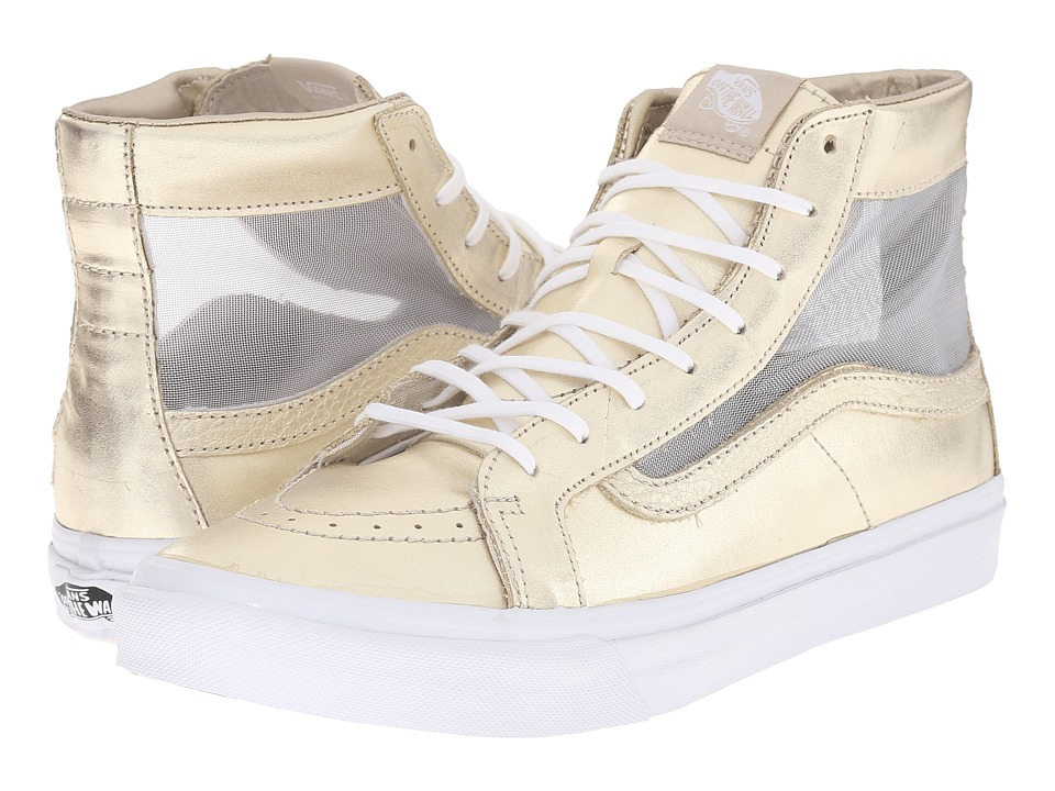 Vans - SK8-Hi Slim Cutout ((Mesh Metallic) Wheat Gold/True White) Shoes