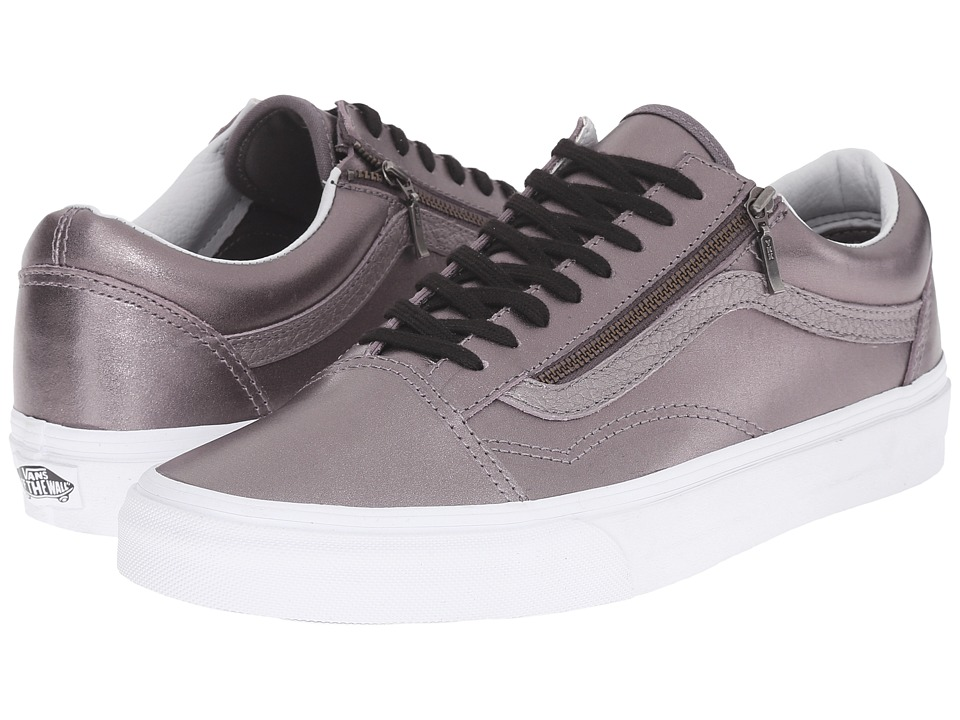 Vans - Old Skool Zip ((Metallic Leather) Thistle Purple/True White) Lace up casual Shoes