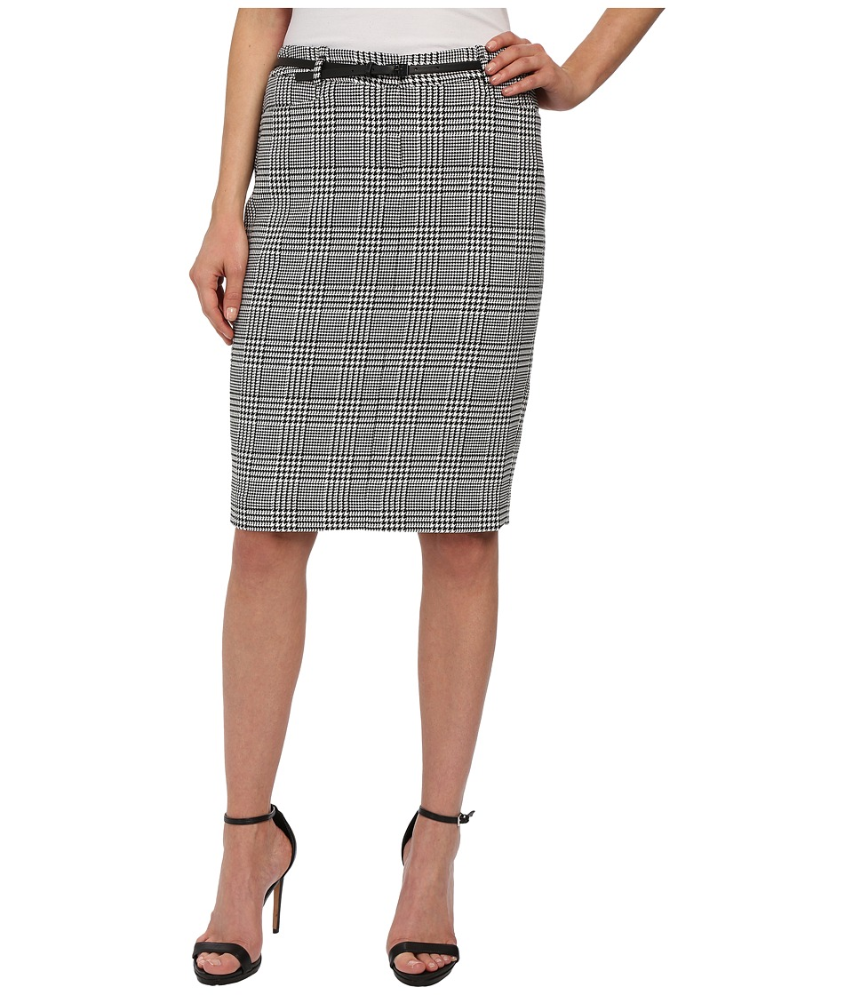 Calvin Klein - Plaid Belted Straight Skirt (Black/Eggshell) Women