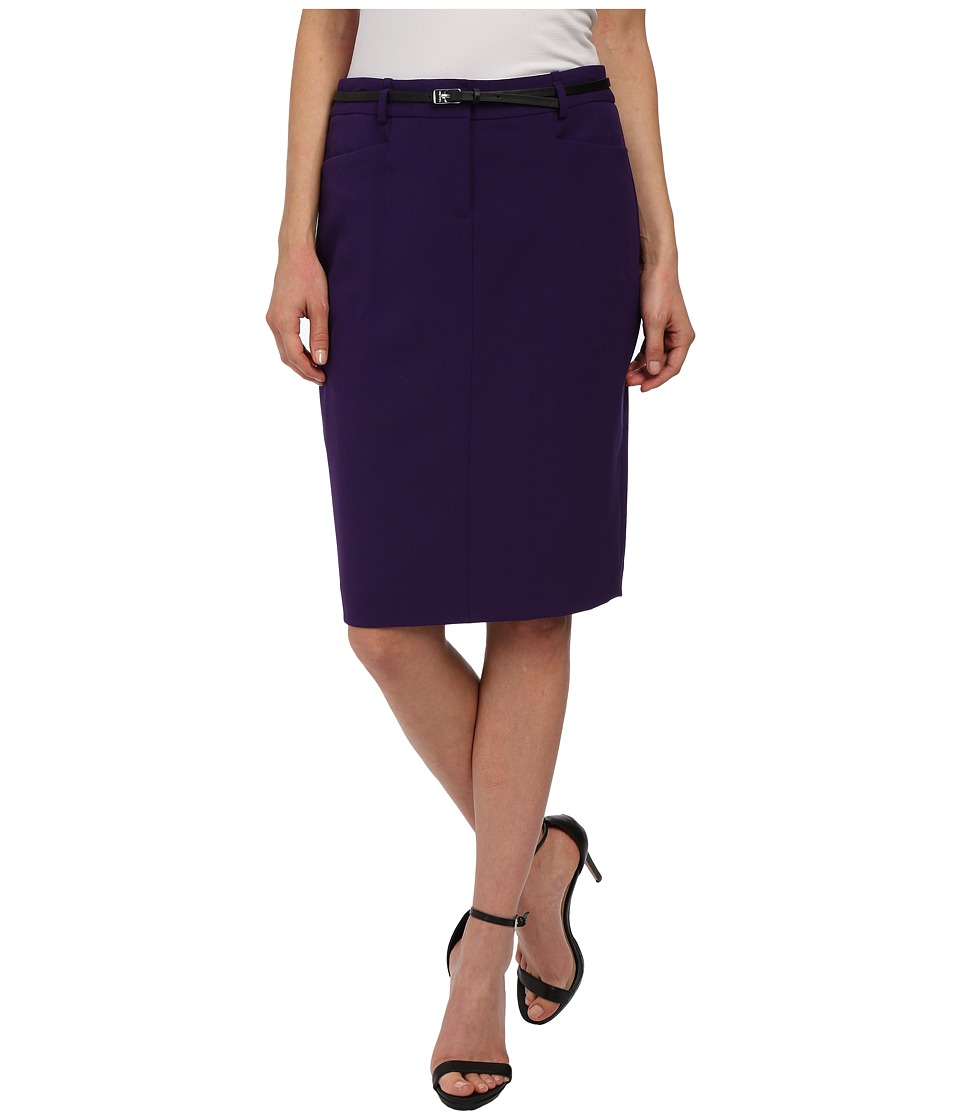 Calvin Klein - Solid Belted Straight Skirt (Night) Women