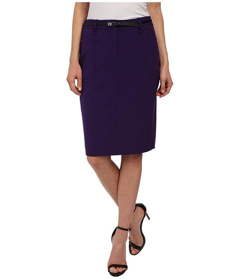 Calvin Klein - Solid Belted Straight Skirt (Night) Women's Skirt