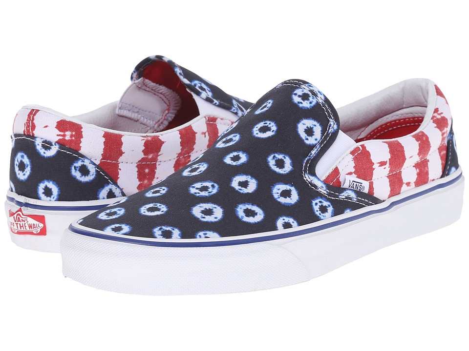 Vans - Classic Slip-On ((Dyed Dots & Stripes) Blue/Red) Skate Shoes