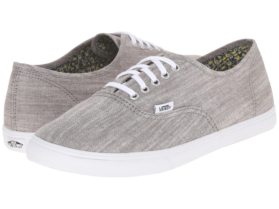 Vans - Authentic Lo Pro ((Floral Chambray) Gray/True White) Skate Shoes