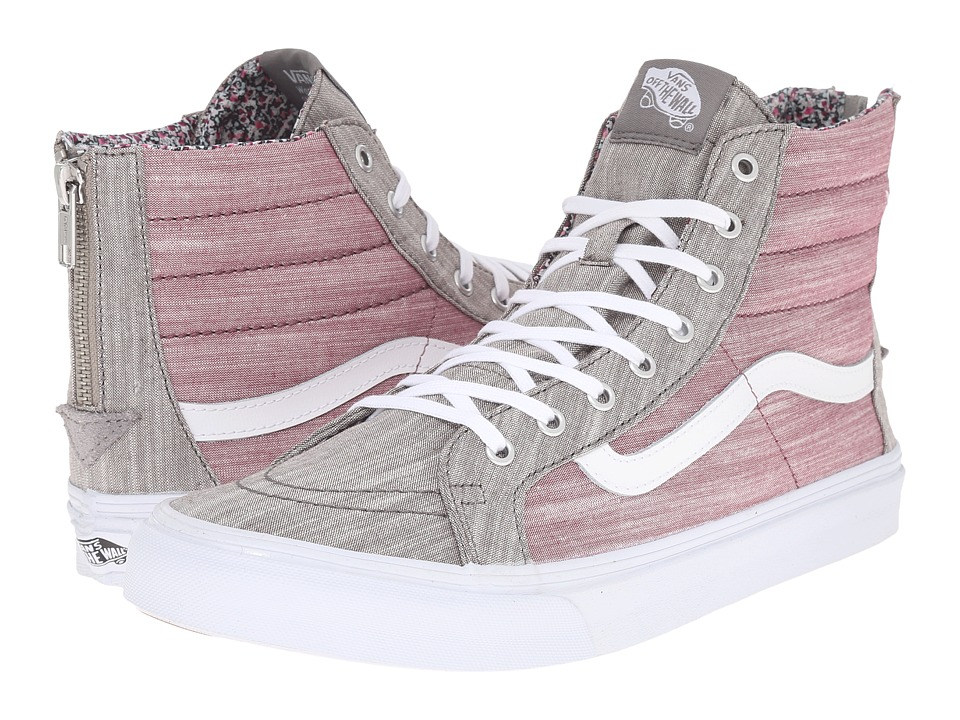 Vans - SK8-Hi Slim Zip ((Floral Chambray) Gray/True White) Skate Shoes