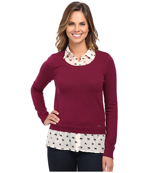 U.S. POLO ASSN. - Pony Print Shirt and Pullover Twofer (Purple Potion Combo) Women
