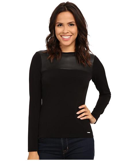 Calvin Klein - Long Sleeve Matte Jersey Top w/ PU Contrast (Black) Women's Clothing