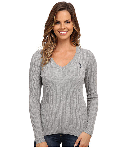 U.S. POLO ASSN. - Solid Cable Knit V-Neck Pullover (Medium Heather Grey Combo) Women