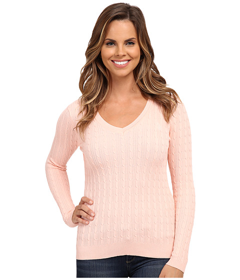 U.S. POLO ASSN. - Solid Cable Knit V-Neck Pullover (Impatiens Pink Combo) Women's Clothing