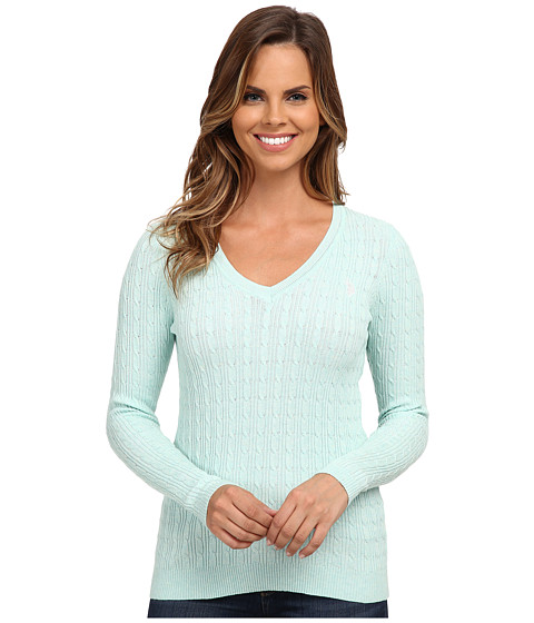 U.S. POLO ASSN. - Solid Cable Knit V-Neck Pullover (Heather Fair Aqua Combo) Women's Clothing