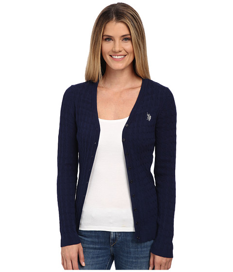 U.S. POLO ASSN. - Solid Cable Knit Cardigan (Tribal Navy Combo) Women