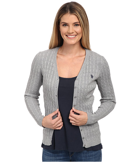U.S. POLO ASSN. - Solid Cable Knit Cardigan (Medium Heather Grey Combo) Women's Sweater