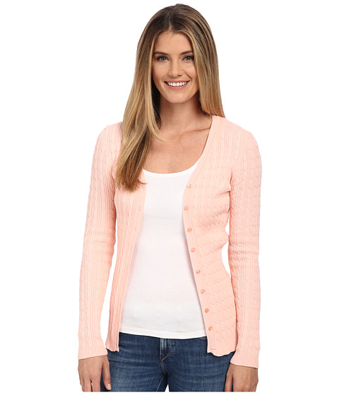 U.S. POLO ASSN. - Solid Cable Knit Cardigan (Impatiens Pink Combo) Women