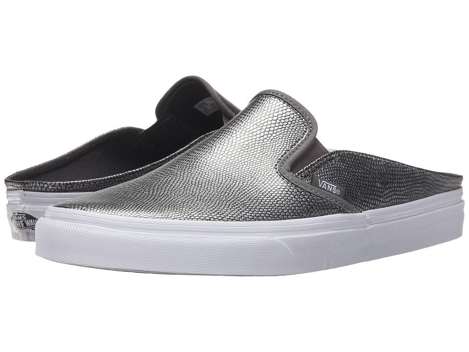 Vans Classic Slip-On Mule ((Embossed Leather) Gray/True White) Shoes
