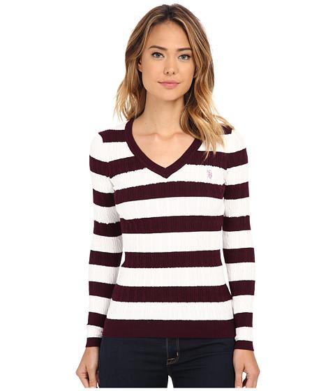 U.S. POLO ASSN. - Stripe V-Neck Cable Pullover (Potent Purple Marsh) Women