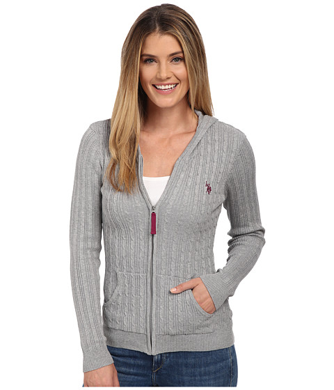 U.S. POLO ASSN. - Cable Knit Zip Front Hooded Cardigan (Medium Heather Grey Combo) Women's Sweater