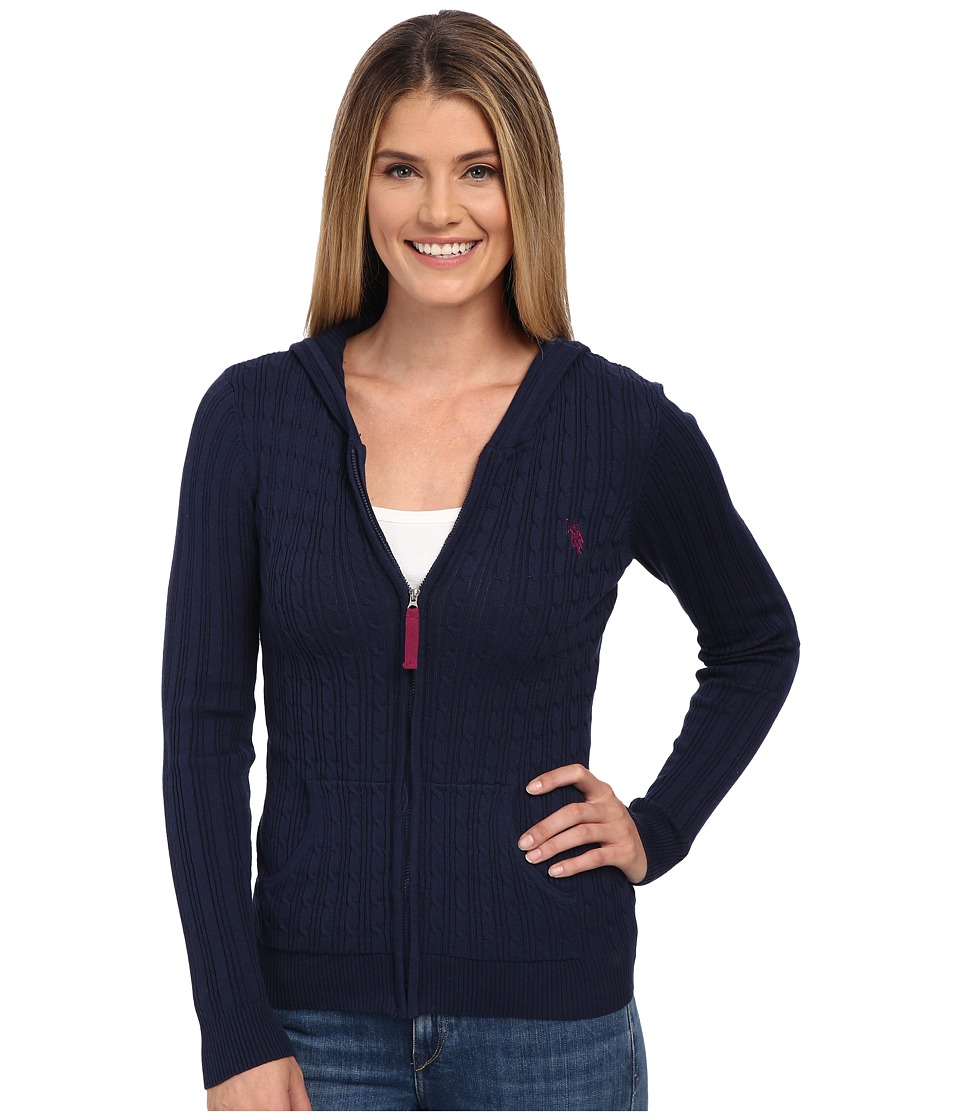 U.S. POLO ASSN. - Cable Knit Zip Front Hooded Cardigan (Evening Blue Combo) Women's Sweater