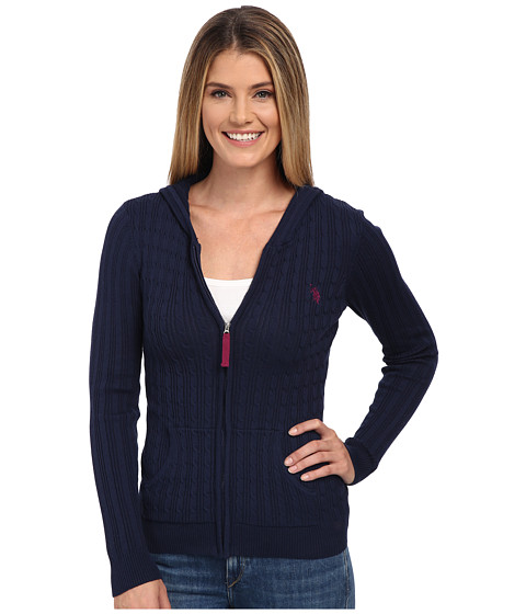 U.S. POLO ASSN. - Cable Knit Zip Front Hooded Cardigan (Evening Blue Combo) Women