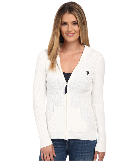 U.S. POLO ASSN. - Cable Knit Zip Front Hooded Cardigan (Marshmallow Combo) Women