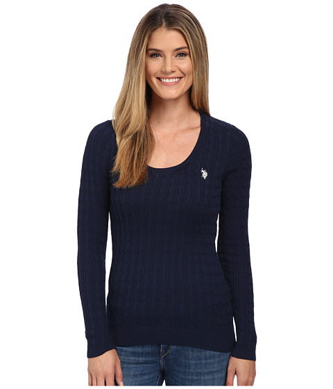 U.S. POLO ASSN. - Solid Cable Knit Scoop Neck Pullover (Evening Blue Combo) Women