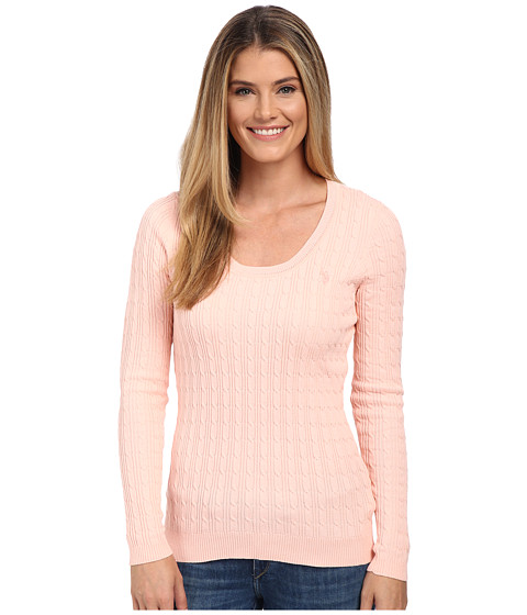 U.S. POLO ASSN. - Solid Cable Knit Scoop Neck Pullover (Impatiens Pink Combo) Women's Clothing